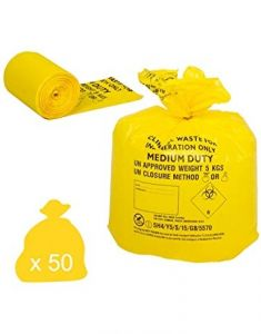 Yellow Medium Duty Clinical Waste Sack 30 Litres Pack 50)