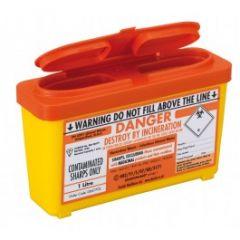 Sharps Container 1.0 Litre-Orange Lid
