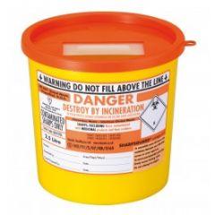 Sharps Container 2.5 Litre-Orange Lid