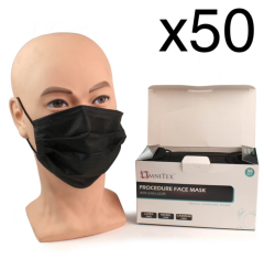 Face Masks - Type IIR with Ear Loops - Black - Box of 50