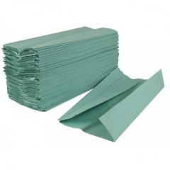 Recycled Hand Towels 1ply C Fold Green (Pack Of 192)